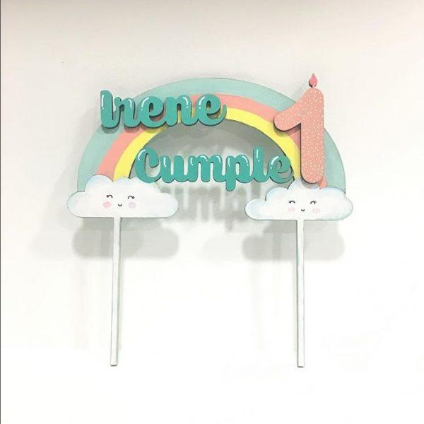 topper personalizado arcoiris